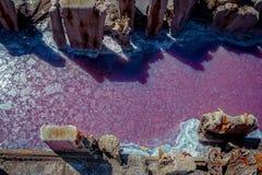 Kałuża różowy słonego jeziora brine z skorupą na powierzchni obrazy stock
