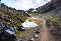 kałuża w Landmannalaugar terenie w Iceland zdjęcia stock