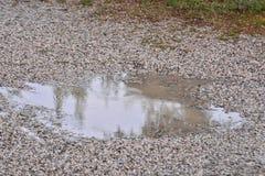 Kałuża woda i raindrops zdjęcia stock