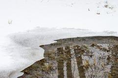 Kałuża woda w ciepłym wiosna sezonie topi śnieg zdjęcie royalty free