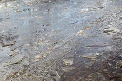 Kałuże i siekający lód Obraz Royalty Free