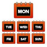 Każdy dzień tygodnia czerwień gradientu kalendarz, ochraniacz ikona,/ Czarny i biały w środku ilustracji