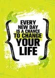 Każdy Nowy dzień Jest szansą Zmieniać Twój życie Inspirować Kreatywnie motywaci wycena szablon Wektorowy typografia sztandar royalty ilustracja