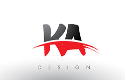 KA K A Brush Logo Letters with Red and Black Swoosh Brush Front Royalty Free Stock Photography
