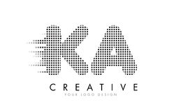 KA K A Letter Logo with Black Dots and Trails. Stock Photo