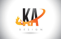 KA K A Letter Logo with Fire Flames Design and Orange Swoosh. Royalty Free Stock Image