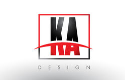 KA K A Logo Letters with Red and Black Colors and Swoosh. Stock Photography