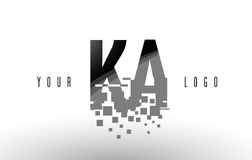 KA K A Pixel Letter Logo with Digital Shattered Black Squares Royalty Free Stock Photography