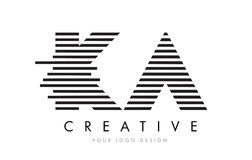KA K A Zebra Letter Logo Design with Black and White Stripes Stock Photography