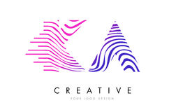KA K A Zebra Lines Letter Logo Design with Magenta Colors Royalty Free Stock Photography