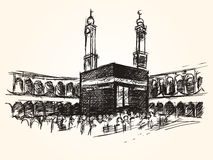 Kaaba holy symbolic building in islam vector sketch drawing pilgrimage hajj Stock Photo