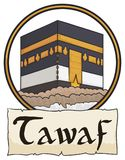 Kaaba inside Button and Scroll Commemorating Tawaf Ritual for Hajj, Vector Illustration Stock Images
