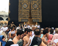 Kaaba, muslims and gold door Royalty Free Stock Photo