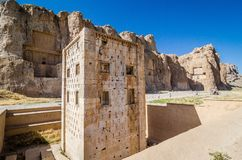 Cube of Zoroaster in ancient necropolis Naqsh-e Rustam in Fars province, Iran. Kaaba of zoroastrians in ancient necropolis in desert near to Shiraz royalty free stock images