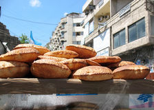 Kaak Snack Cart. A street vendors cart containing an Arabic snack. Kaak is a popular snack in the Middle-East Stock Photo