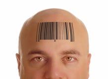 Kaal hoofd met streepjescode Stock Foto's