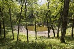 Kaali krater i ön av Saaremaa, Estland fotografering för bildbyråer