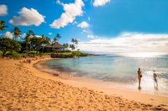 Kaanapali海滩在西部毛伊,夏威夷 图库摄影