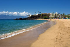 Kaanapali Beach, Black Rock in the distance, Maui, Hawaii. Kaanapali Beach on a sunny day, Maui, Hawaii stock photo