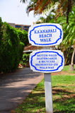 Kaanapali beach boardwalk. On the West Maui coast line royalty free stock photos