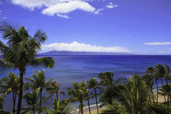 Kaanapali beach on maui. Looking at the island of kahoolawe royalty free stock image