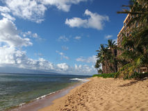 Kaanapali Beach with trees, hotels, and Lanai in the distance royalty free stock photo