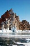 Kaap Burhan op de westkust van het Eiland Olkhon Royalty-vrije Stock Foto's