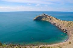 Kaap en baai. De Zwarte Zee. De Krim. De Oekraïne Stock Afbeelding