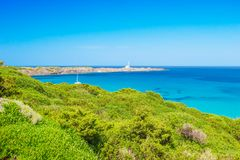 Kaap Favaritx op Sunny Summer Day in Menorca stock foto