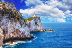 Kaap Lefkatas, Lefkada, Griekenland Stock Foto's