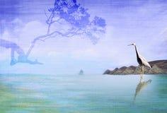 Kaap met Reiger en boom Stock Illustratie