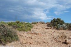 Kaap Sounion van het zuidelijke deel van vasteland Griekenland 06 20 2014 Marien landschap en landschap van de woestijnvegetatie  Royalty-vrije Stock Foto