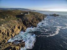 Kaap Tourinan - de Kust van Spanje, Luchtmening Royalty-vrije Stock Afbeelding