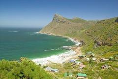 Kaap van Goede Hoopmening van kust met plattelandshuisjes, buiten Cape Town, Zuid-Afrika stock foto's