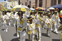 Kaapse Klopse. This year 75 spectacular groups comprising 40 000 minstrels  participate in the annual street parade.The event attracts the entire communities Stock Photography