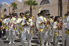Kaapse Klopse. This year 75 spectacular groups comprising 40 000 minstrels  participate in the annual street parade.The event attracts the entire communities Stock Photos