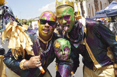 Kaapse Klopse. This year 75 spectacular groups comprising 40 000 minstrels  participate in the annual street parade.The event attracts the entire communities Royalty Free Stock Images
