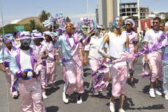 Kaapse Klopse. This year 75 spectacular groups comprising 40 000 minstrels  participate in the annual street parade.The event attracts the entire communities Stock Image