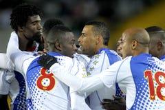 Kaapverdische spelers die doel vieren royalty-vrije stock afbeelding