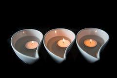 Kaars in Ceramische Kom II Royalty-vrije Stock Fotografie