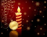 Kaars, de bal van Kerstmis en sneeuwvlokken stock illustratie