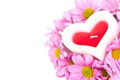 Kaars in de vorm van een hart en chrysanten. Stock Afbeelding