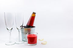 Kaars, en champagneglas, Valentine-concept stock afbeeldingen