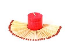 Kaars en matchsticks royalty-vrije stock afbeelding