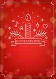 Kaars en Ornamentenoverzicht Kerstmis Eve Candlelight Service Invitation Lijn Art Vector Design en Feestelijke Bokeh royalty-vrije stock foto