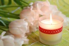 Kaars en tulpen Royalty-vrije Stock Foto