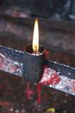 Kaars en vlam Stock Afbeeldingen