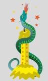 Kaars en vurige slang. Stock Foto
