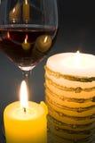 Kaars en wijn Stock Foto's