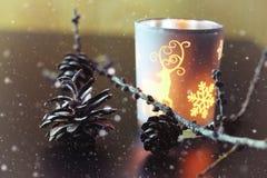 Kaars in glassparappel Stock Foto's
